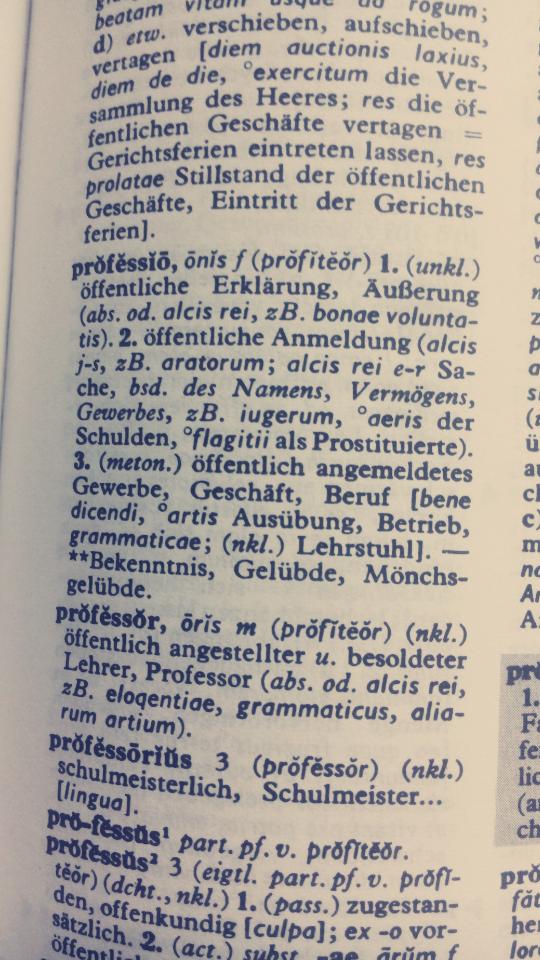 Wörterbuch Latein professio